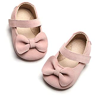 Kiderence Baby Shoes Toddler Girl's Marry Jane Flat Dress Shoes (12-18Months/Pink/Infant)