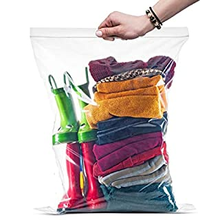 """{ 100 Count } Large Zip & Lock Bags, Big Food Storage Bags, 16""""x18"""" Clear 100 Count"""
