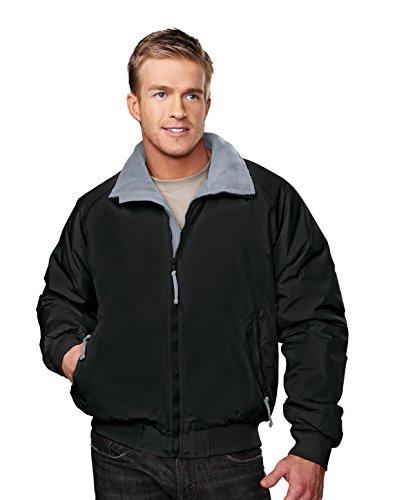 Tri-mountain Nylon 3-season jacket with fleece lining. - BLACK / GRAY - X-Large