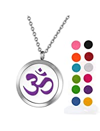 """Stainless Steel Aromatherapy Essential Oil Diffuser Necklace with Sign """"ohm om aum yoga"""" for Women,Silver Tone"""