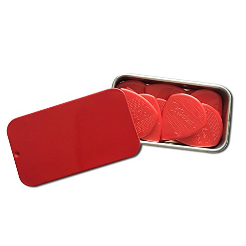 Cheerhas 10pcs Drop Shape Guitar Picks Red Nylon Embossed Guitar Picks Red Color Jazz III + Plasitc box (1.2MM, Red)
