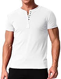 Men's Short Sleeve Shirts Button V Neck Tee Slim Fit Contrast Placket Tops