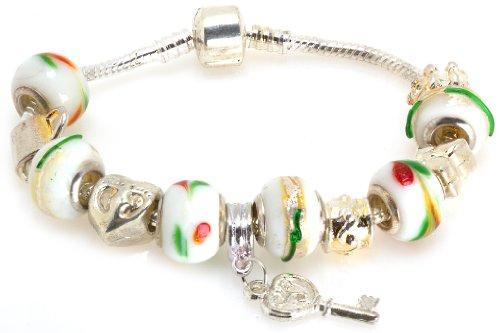 Dolce Glass Pendant (Royal Diamond Key Heart Fashion Designer Bracelet with Glass Beads)