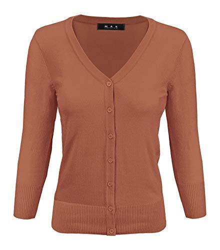 YEMAK Women's 3/4 Sleeve V-Neck Button Down Knit Cardigan Sweater CO078-D.Orange-L