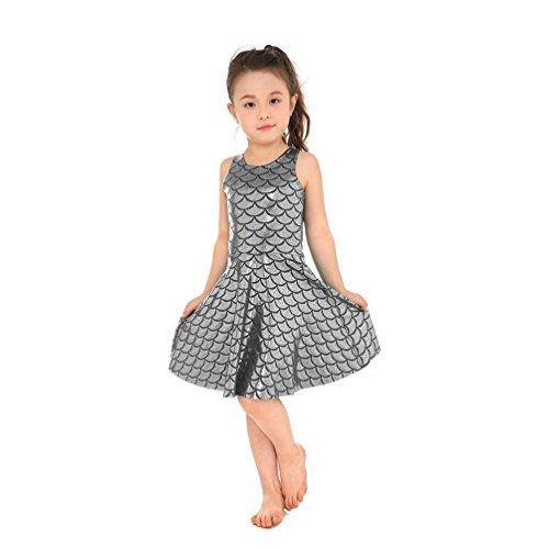 (Lesubuy Shiny Silver Fish Scales Mermaid Princess Girls Dance Skater Dress Large)