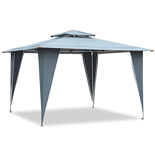 LordBee New Gray 2 Tiers 11.5' x 11.5' Gazebo Canopy Shelter Patio Awning Tent Wedding Party Patio Poolside Garden Shade Nice Decoration Large Stable and Sturdy]()
