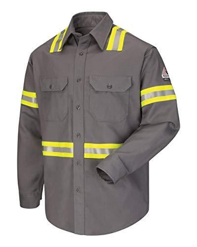 (Bulwark FR Men's SLDT EXCEL FR ComforTouch Flame Resistant Enhanced Visibility Reflective Long Sleeve Button Down Uniform Shirt (Medium Long, Grey))