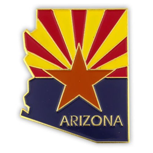 (PinMart State Shape of Arizona and Arizona Flag Lapel Pin 1-1/8