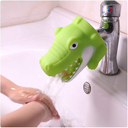 Gotian Kitchen Bathroom Duck Faucet Extender Sink Handle Extender Child Washing Green, Cute Shapes and Bright Colors Eencourage Good Hygiene and Promote Independence (Green)]()