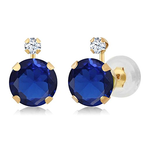 14K Yellow Gold Blue Simulated Sapphire & White Created Sapphire Jewelry Women's Earrings (2.08 cttw, 6MM+2MM Round) by Gem Stone King