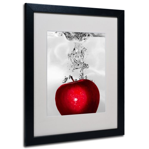 Apples Canvas Art - Roderick Stevens Red Apple Splash Framed Matted Canvas Art, 16 by 20-Inch, Black