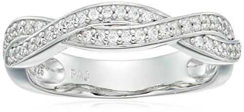 Rhodium Plated Sterling Silver Twist Pave Cubic Zirconia Stacking Band Ring, Size 7