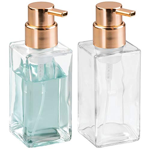 mDesign Modern Square Glass Refillable Foaming Hand Soap Dispenser Pump Bottle for Bathroom Vanities or Kitchen Sink, Countertops - 2 Pack - Clear/Copper