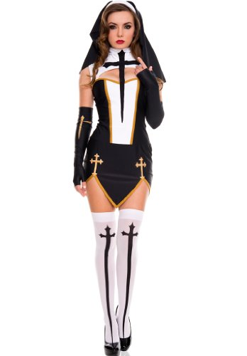 [4 PC. Ladies' Bad Habit Nun Dress - Small/Meidum - Black/White] (Bad Habit Nun Costumes)