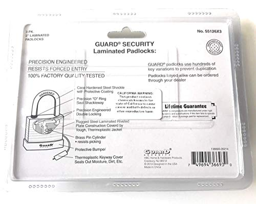Guard Security Keyed Padlocks - Set of 3 High Security Padlocks with 6 Keyed Alike (Matching) Keys - Great Value! by Guard Security (Image #1)