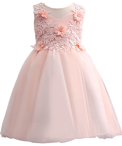 - PLwedding Flower Girl Evening Dresses Cute Kids Lace Pageant Ball Gowns (Size 8-9, Pink)