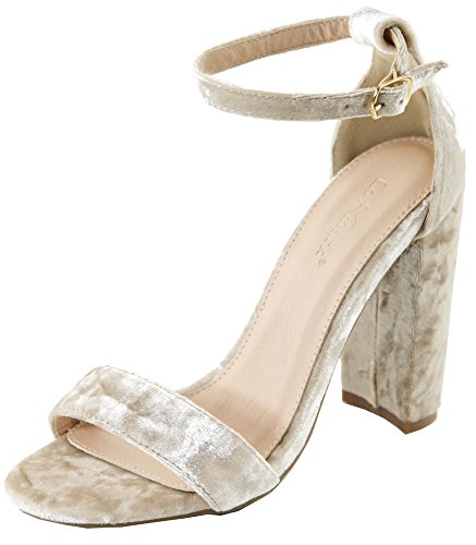 Bella Marie Women's Crushed Velvet Ankle Strappy Open Toe Block Heel Sandal (9 B(M) US, Nude)