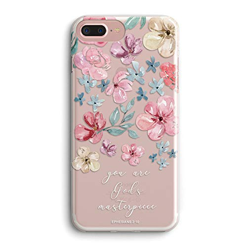 iPhone 5s Case,iPhone SE Girls Women Case,Cute Pink Floral Flowers Blooms Spring Summer Roses Bible Verses Inspirational Quotes God's Masterpiece Elegant Clear Soft Case Compatible for iPhone SE/5S (Iphone 5s Case Beach Quotes)