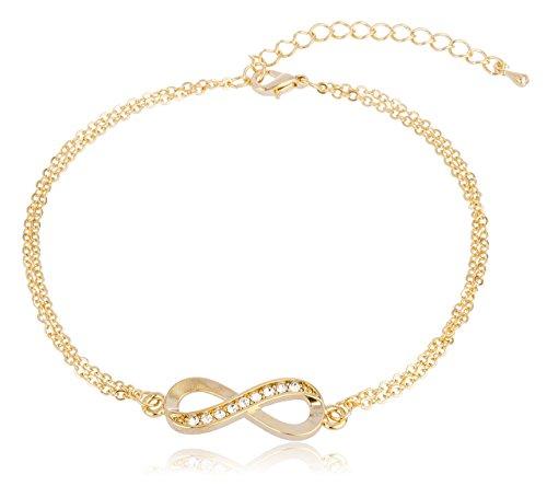 Bracelet Ring Double Gold Elegant - Goldtone Infinity Adjustable Charm Anklet with Stones (J-897)