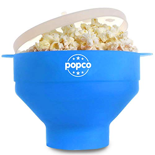 The Original Popco Silicone Microwave Popcorn Popper with Handles, Silicone Popcorn Maker, Collapsible Bowl Bpa Free and Dishwasher Safe (Light Blue) ()