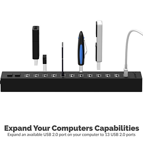 Sabrent 13 Port High Speed USB 2.0 Hub with Power Adapter And 2 Control Switches (HB-U14P) by Sabrent (Image #1)