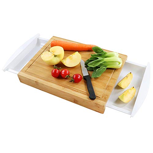 ANYO Bamboo Cutting Board with Tray, Eco-friendly Bamboo Chopping Board with 2 Drawers Juice Groove for kitchen and Non Slip Feet (Friendly Board Eco Cutting)