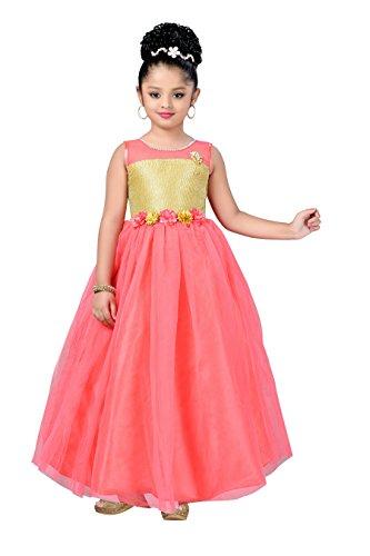 Aarika Girl's Self Design Net Fabric Party Wear Ball Gown (G-1035-GAJRI_32_10-11 Years) by Aarika