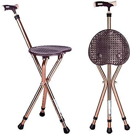 YUNSHINE Asiento de caña plegable 441 lbs capacidad gruesa aleación de aluminio caña taburete crutch silla asiento 3 piernas bastón asientos altamente ajustables pie palo alto (Marrón)