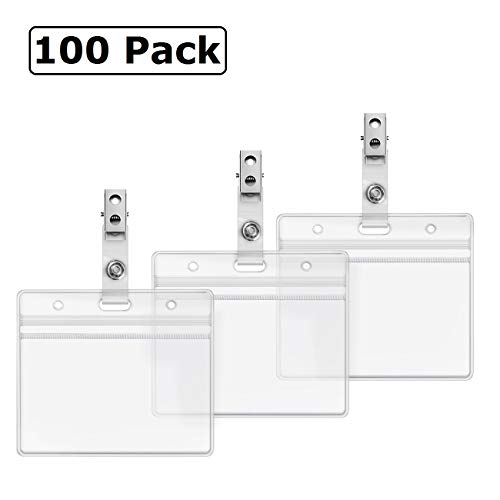 Horizontal ID Badge Holder and Metal Clips with