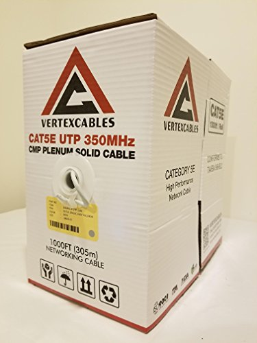 CAT5E PLENUM 1000FT 350MHZ 24AWG GREY SOLID NETWORK CABLE CMP by Vertex Cables