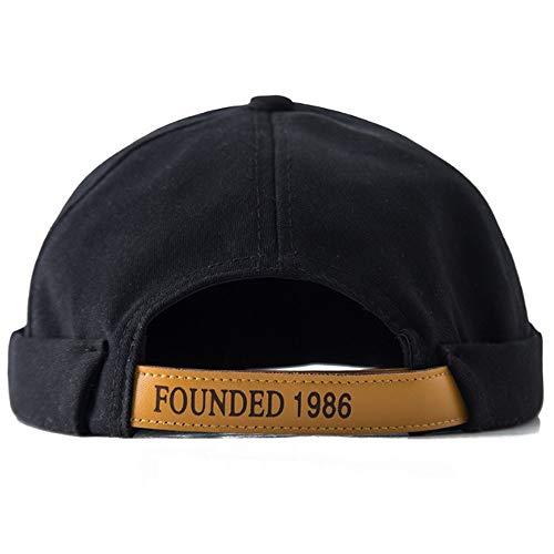 Clape Beanie Hat Sailor Cap Brim-Less Rolled Cuff Retro Strap-Back Cap Black -