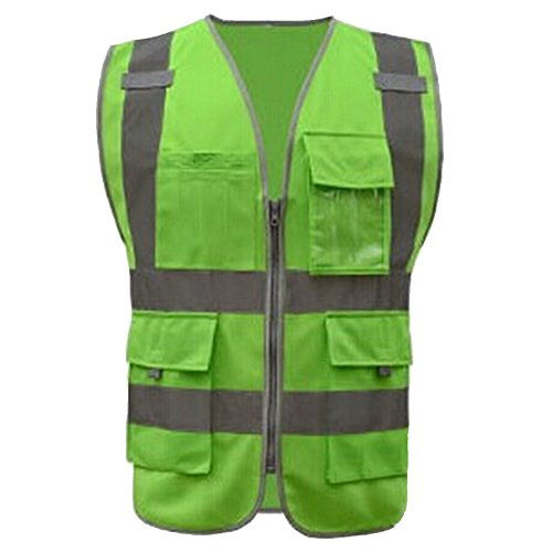 GOGO 8 Pockets High Visibility Zipper Front Safety Vest With Reflective Strips, Meets ANSI Standards-Green-XXL