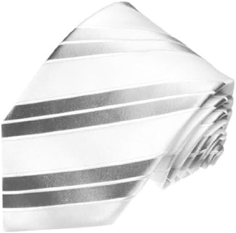 LORENZO CANA - Italian 100% Silk Tie Jacquard Woven White Silver Striped 84341