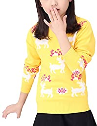 MFrannie Girl Deer Bright Energetic Round Collar Knitting Sweater Yellow 7-8T