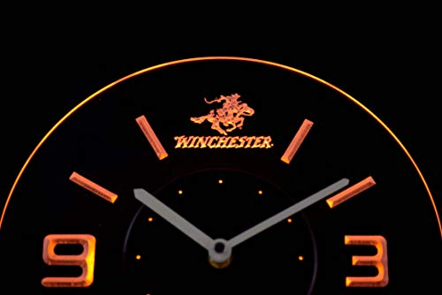 Time2LightUp Winchester Firearms Gun 10 Inches Circle Led Illuminated Wall Clock Yellow (Wall Winchester Clock)