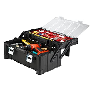 Keter 22 in. Cantilever Plastic Tool Box with Metal Latches