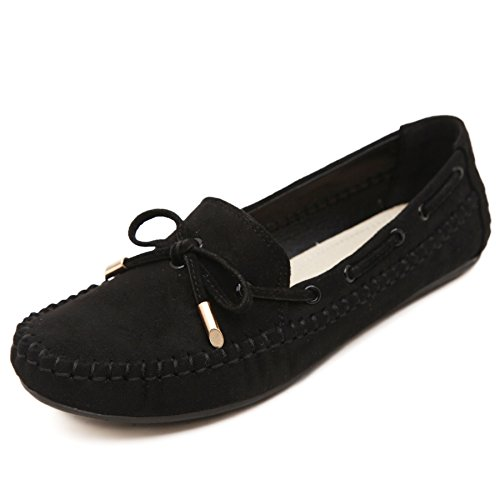 Loafers Slip Casual Womens on Meeshine Black Driving Shoes Flat Moccasins Bowknot fYxXdP5q