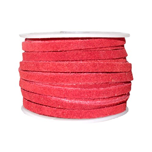 (Genuine Suede Flat Leather Lace, Leather Cording for Jewelry & Crafts 4mm Red, 10 Meters (10.93 Yards))