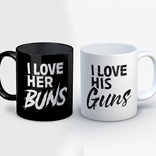 Comic Book Couples Halloween Costumes (Couples Coffee Mug - Her Buns His Guns - Funny 11 oz Black/White Ceramic Tea Cup - Humorous Couples Gifts with Matching His and Hers Sayings)