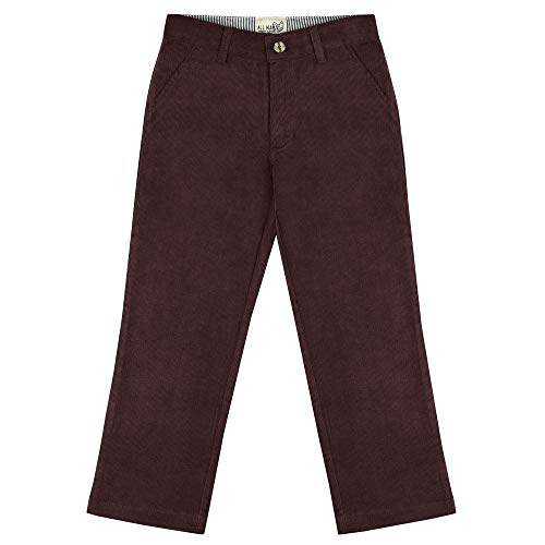 - Buyless Fashion Boys Pants Flat Front Slim Fit Casual Corduroy Solid Color - 19W1824-PLM-7 Plum