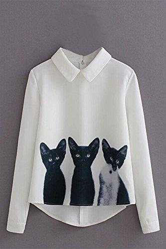 作りアラブ防腐剤Vin beauty 婦人向け かわいい猫のプリント シャツ