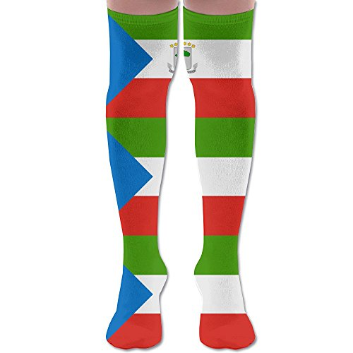 Equatorial Guinea Flag Polyester Cotton Over Knee Leg High Socks Trendy Unisex Thigh Stockings Cosplay Boot Long Tube Socks For Sports Gym Yoga Hiking Cycling Running Football ()