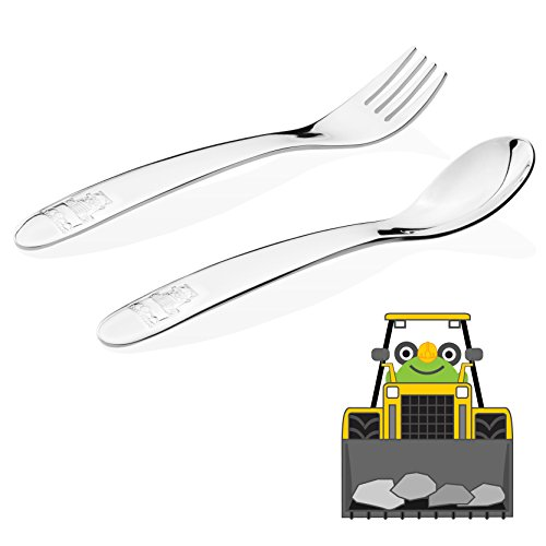 Kiddobloom Baby / Early Toddler (up to 18 months) Training Stainless Steel Utensil Set, Loader model, 2-piece Self-Feeding Tot Flatware Set includes Spoon and Fork. Perfect for Baby Shower Gifts.