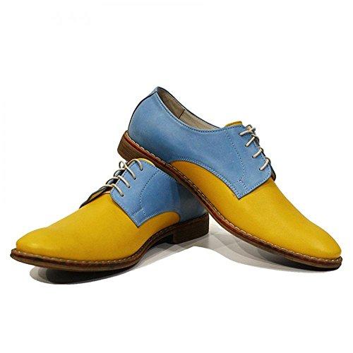 Modello Gino - Handmade Italiano Da Uomo In Pelle Giallo Scarpe da sera - Vacchetta Pelle morbido - Allacciare