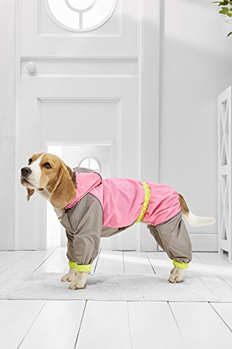 Medium Dog Raincoat With Hood For Beagle Poodle Boston Terrier Cocker Spaniel (Small Medium Size, hot pink, gray, yellow) - Frenchie Costume Plus Size