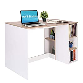 Coavas Computer Writin Desk with 5 Shelves
