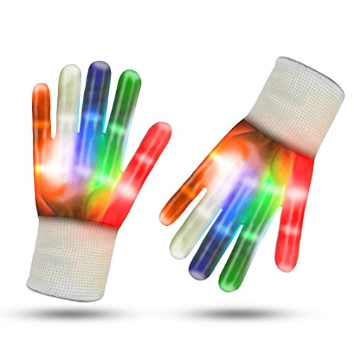 Heyuni. LED Gloves Finger Lights Flashing Gloves 5 Color 6 Modes Rave GlovesFor Halloween Costume Christmas Dance Dubstep Party Birthday