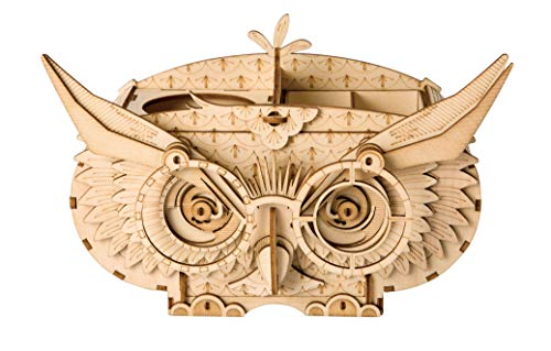 RoWood Wooden Pen and Pencil Holder Puzzle Kit, Desk Organizer Home Office Bedroom Decor - Owl Shortage Box