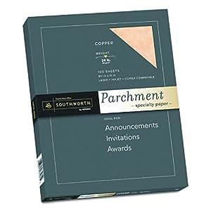 "Southworth P894CK/3/36 Parchment Specialty Paper, 8.5"" x 11"", 24 lb., Copper, 100 Sheets (P894CK)"