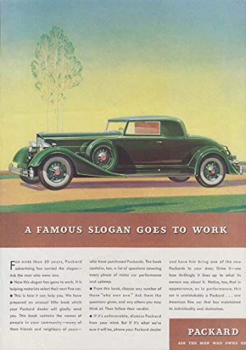 A Famous Slogan Goes to work - Packard Coupe ad 1934 for sale  Delivered anywhere in USA
